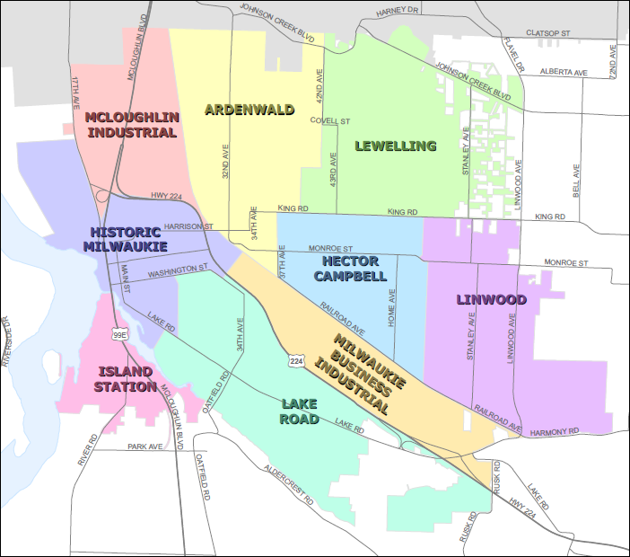 Neighborhood District Maps City Of Milwaukie Oregon Official Website - City map of oregon