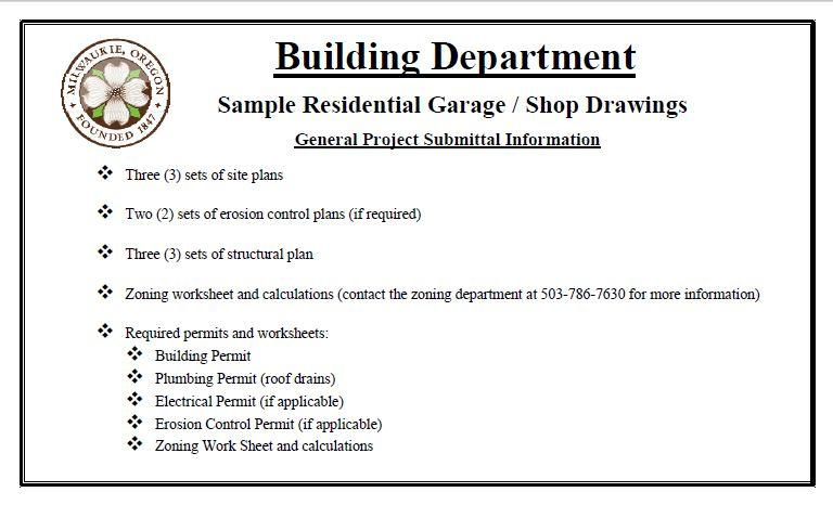Sample residential garage shop drawings city of Residential building plan sample