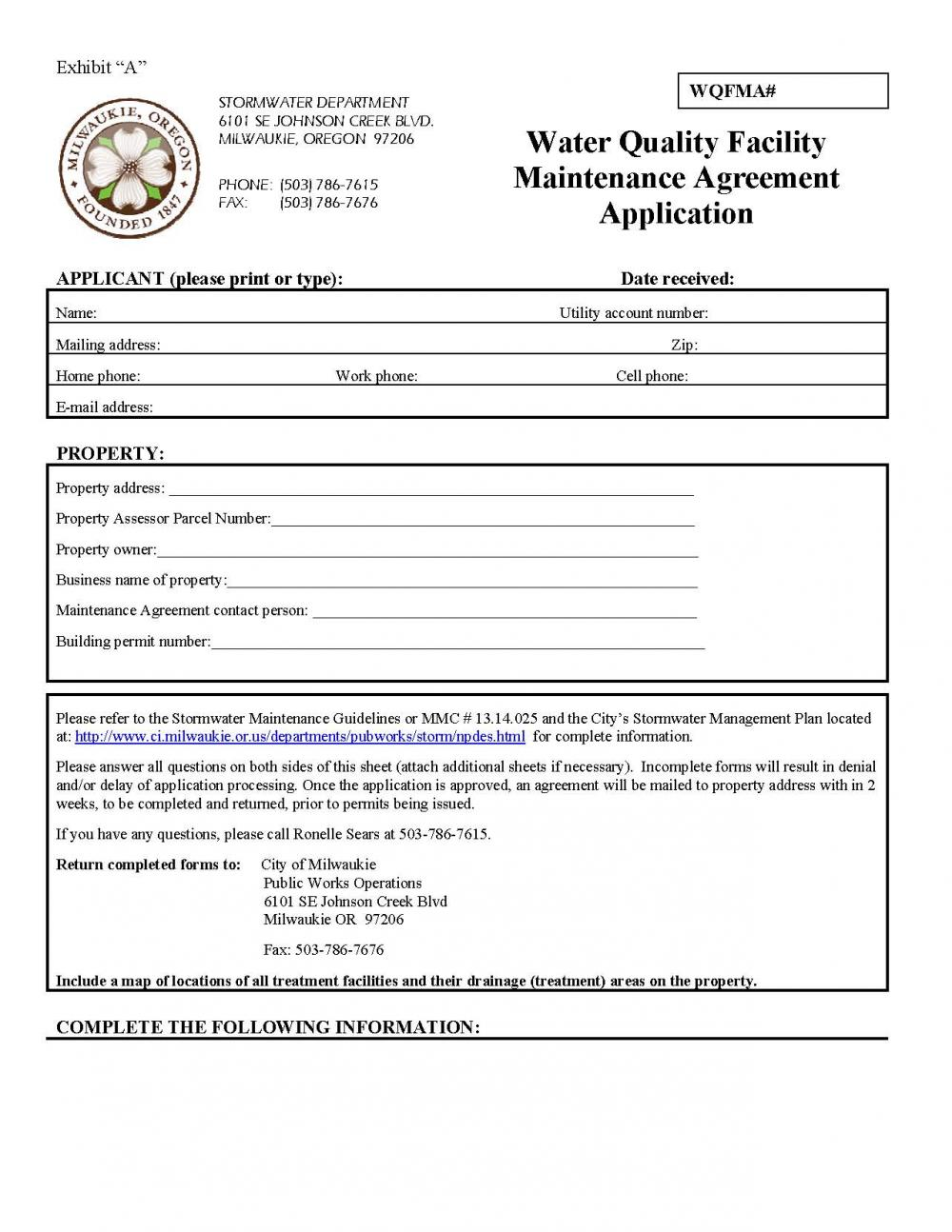 Stormwater Quality Facility Maintenance Agreement