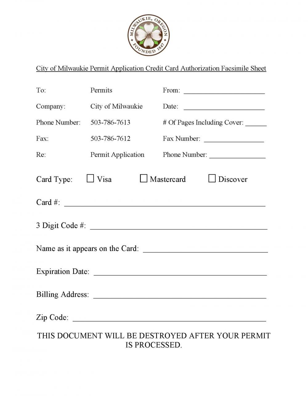 credit card authorization form city of milwaukie oregon official credit card authorization form